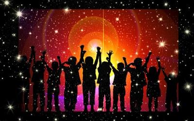 children silhouette cheering