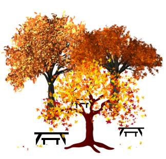 Three colorful fall trees with tables under them