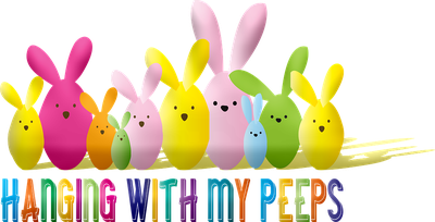 Rainbow colored rabbits with text reading Hanging with my peeps