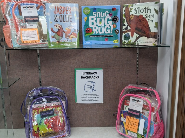 Three clear backpacks with books and games inside and several children's pictures books on glass shelves